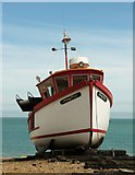 TR3752 : Fishing  boat  Morning  Haze  hauled  up  on  Deal  beach by Martin Dawes