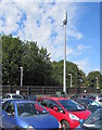 SZ5881 : Vodafone telecoms mast in Shanklin railway station car park by Jaggery