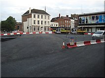 SO8554 : Roadworks on Cathedral roundabout, Worcester by Philip Halling