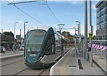 SK5236 : Chilwell: High Road Central College tram stop on opening day by John Sutton