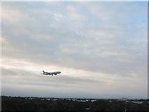 TQ0975 : American Airlines Boeing 777 flight landing at London Heathrow Airport by Matthew Cotton