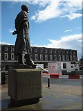 SO8554 : Elgar's statue surveys the roadworks by Philip Halling