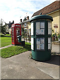 TM1763 : Debenham Village Notice Board & Telephone Box by Adrian Cable