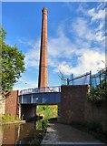 SJ9398 : Bridge and chimney by Gerald England