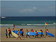 SW3526 : Surf school on Sennen beach by Rod Allday