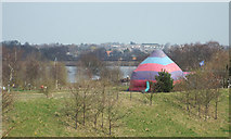 SK0407 : Beyond the inflatable whatever, a glimpse of Chasewater, Chasetown and Burntwood by Robin Stott