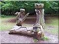 SU9584 : Wooden Sculptures, Burnham Beeches by Len Williams