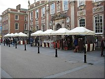 SO8554 : High Street stalls by Philip Halling