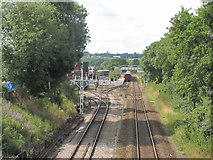 TL8928 : Chappel & Wakes Colne Station from Spring Gardens Bridge by Colin Park