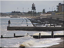 TM2531 : Dovercourt - Seafront, groynes and Upper Lighthouse (close up) by Colin Park