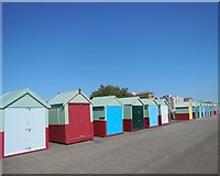 TQ2704 : Beach huts by Hove Western Lawns by Paul Gillett
