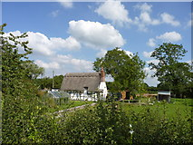 SP0058 : Thatched cottage and garden, Stock Wood, Worcestershire by Jeff Gogarty