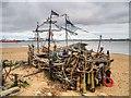 SJ3193 : The Black Pearl Driftwood Sculpture, New Brighton Beach by David Dixon