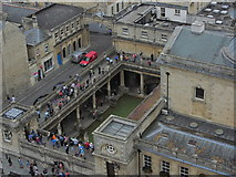 ST7564 : On the tower of Bath Abbey - View towards Roman Baths (close up) by Colin Park