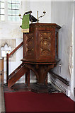 TL6153 : St Mary, Weston Colville - Pulpit by John Salmon