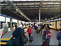 TQ3083 : Boarding Eurostar trains, St Pancras International Station, London by Robin Stott