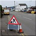 ST3090 : Roadworks sign and Openreach van, Pillmawr Road, Malpas, Newport by Jaggery