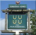 TM1070 : Sign for the Four Horseshoes, Thornham Magna by JThomas