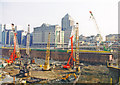 TQ3780 : London Docklands Development, 2000: SE from South Colonnade, Canary Wharf by Ben Brooksbank