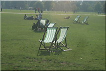 TQ2780 : View of deckchairs in the sun in Hyde Park #4 by Robert Lamb
