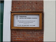 TM1763 : Debenham United Reformed Church sign by Adrian Cable