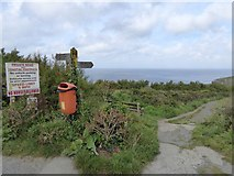 SW6718 : A useful signpost on the South West Coast Path by David Smith