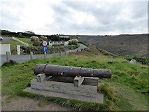 SW6618 : Cannon outside the Mullion Cove Hotel by David Smith