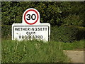 TM1266 : Wetheringsett Cum Brockford Village Name sign by Adrian Cable