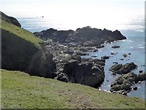 SW6912 : Crane Ledges south of Caerthillian Cove by David Smith