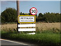 TM1659 : Pettaugh Village Name sign on the A1120 by Adrian Cable