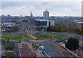 SK5905 : View across Belgrave Circle to Leicester city by Mat Fascione