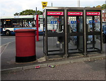 SX9193 : Three BT phoneboxes and twin pillarboxes, Exeter by Jaggery