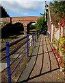 SX7898 : Yeoford railway station railings shadows  by Jaggery