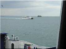 SZ6397 : Spitbank Fort seen from car ferry to Portsmouth by Shazz