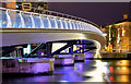 J3474 : The Lagan Weir footbridge (night view), Belfast - October 2015(1) by Albert Bridge