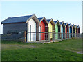 NZ3279 : Colourful beach huts at Blyth South Beach by Oliver Dixon