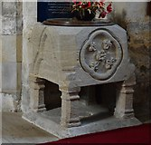 SP9599 : Wakerley: St. John the Baptist church: The unusual c13th font by Michael Garlick