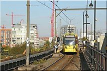 SJ8297 : Terminating tram at Cornbrook by Alan Murray-Rust