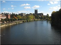 SO8454 : River Severn and Worcester Cathedral in autumn by Philip Halling