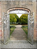 SK6464 : Entrance gates to the orangery, Rufford Country Park by Humphrey Bolton