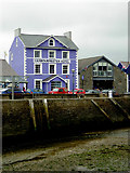SN4562 : Harbour wall and hotel at Aberaeron, Ceredigion by Roger  Kidd