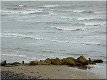 SN4562 : Groyne and shoreline near Aberaeron, Ceredigion by Roger  Kidd