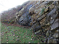 SH5037 : Rocky outcrop below Criccieth castle - and a bench mark by John S Turner