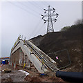 SD4764 : Retaining wall and pylon by Ian Taylor