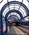TQ3782 : Northbound platform, Bow Church DLR Station by Julian Osley