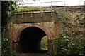 SU8547 : Railway Bridge Over the North Downs Way by Peter Trimming