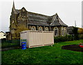 SO0391 : Electricity substation and church, Caersws by Jaggery