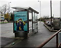 ST3089 : The Lady in the Van advert on a Crindau bus shelter, Newport by Jaggery