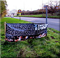 SJ7408 : Banner announcing Shifnal's 2015 Christmas Lights switch on by Jaggery