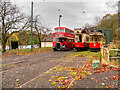 SD8303 : Bus and Trams Outside Lakeside Tram Depot at Heaton Park by David Dixon